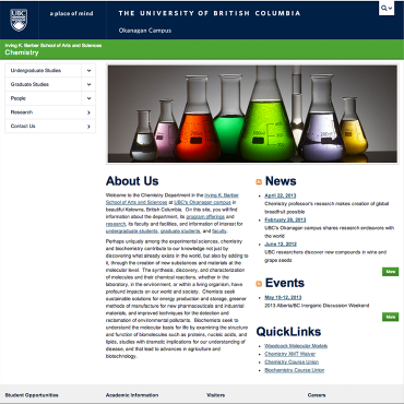 Chemistry, Irving K. Barber School of Arts and Sciences