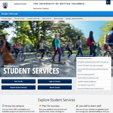 Student Services Website, Student Services