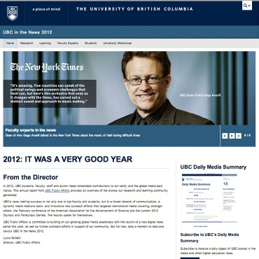 Annual Media Report, UBC Public Affairs